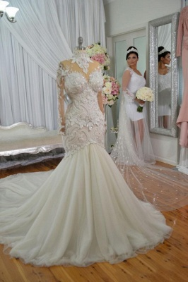High Neck Lace Appliques Mermaid Wedding Dresses with Long Sleeves_1