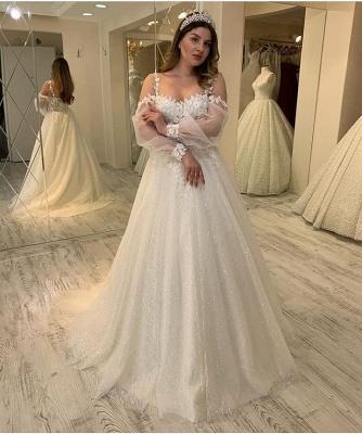 Elegant Jewel Long Sleeve Applique Floral Sequin A Line Wedding Dresses_3