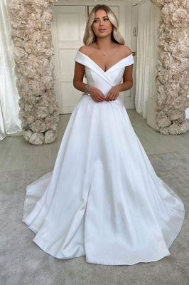 Off The Shoulder Sweetheart Backless A Line Stain Court Train Wedding Dresses_1