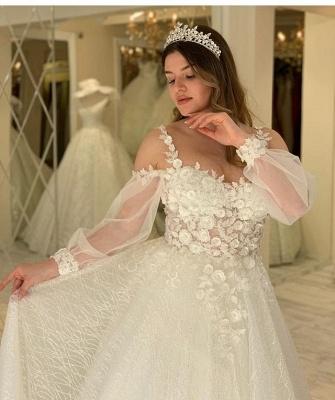 Elegant Jewel Long Sleeve Applique Floral Sequin A Line Wedding Dresses_4