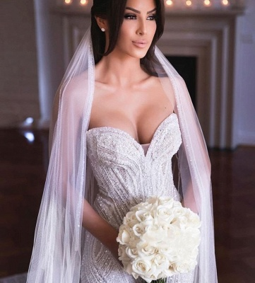 Sweetheart Strapless Beads Mermaid Wedding Dresses_2
