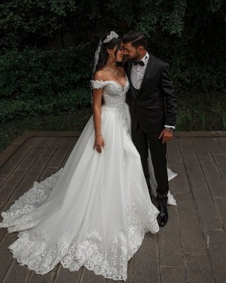 Stunning Sweetheart Off The Shoulder Crystal Sequin Applique Sheath Wedding dresses With Detachable Train_5