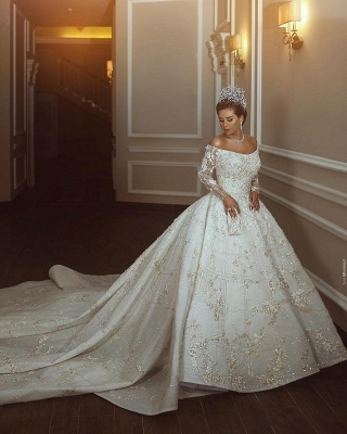 Long Sleeve Off The Shoulder Sweetheart Applique Crystal Ball Gown Wedding Dresses_4