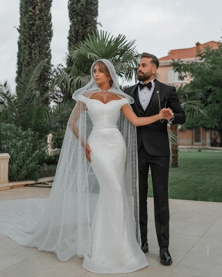 Chic Sweetheart Off The Shoulder Sash Crystal Sequin Floor Length Sheath Wedding dresses With Shawl_3