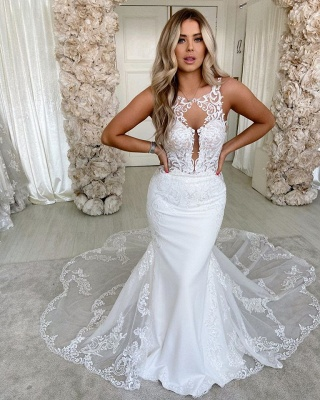 Sexy Jewel  Sleeveless Lace Backless Mermaid Wedding Dress_2