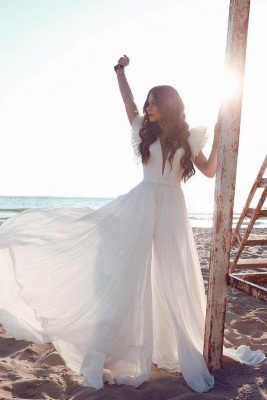 Sexy Short Sleeve Floor Length Tulle Flowing A Line Wedding Dresses_1