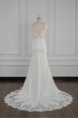 Elegant Ivory Chiffon V Neck Mermaid Wedding Dresses With Lace Appliques_4