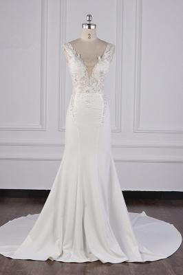 Elegant Sleeveless Ivory Satin Tulle Mermaid Wedding Dresses With Lace Appliques_2