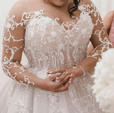 Jewel Lace Appliques Ball Gown Wedding Dresses with Long Sleeves_2