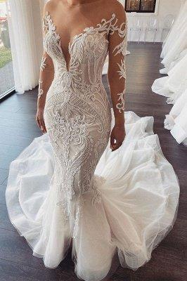 Elegant Jewel Long Sleeve Nude See Through Back Applique Fitted Mermaid Wedding Dresses_1
