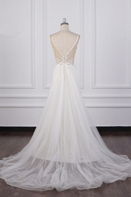 Graceful Sleeveless V Neck Tulle Beading Wedding Dresses With  Lace Appliques_6