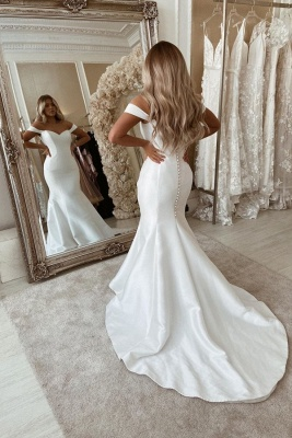 Sexy  Off The Shoulder Backless Sweetheart Fitted Mermaid Wedding Dresses_1