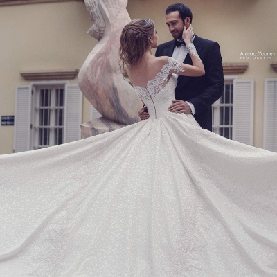 Off The Shoulder Lace A Line Wedding Dresses | Long Sleeve Wedding Gown_3