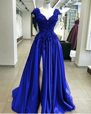 Royal Blue Straps V Neck Applique Crystal Sequin Side Slit Floor Length A Line Prom Dresses_1