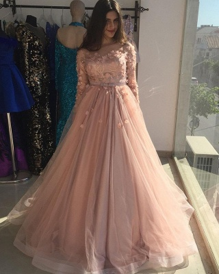 Pink Jewel Long Sleeve Floral  Sash Floor Length Pleates A Line Prom Dresses_3