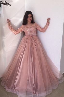 Pink Jewel Long Sleeve Floral  Sash Floor Length Pleates A Line Prom Dresses_1