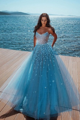 Sparkly Sweetheart Sequin A Line Prom Dresses | Sleeveless Evening Dresses_1