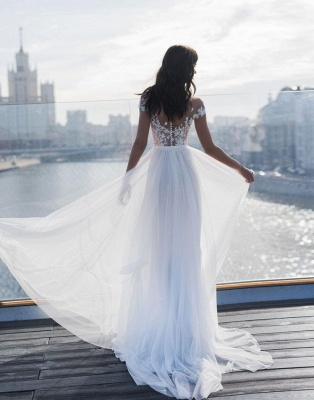 Jewel Slit Lace A Line Wedding Dresses   Sheer Back Sash Bridal Gown_2