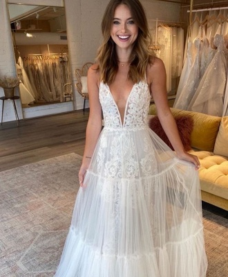 Simple Straps V Neck Applique A Line Wedding Dresses | Tulle Bridal Gown_2