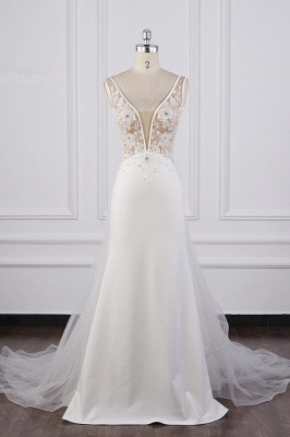 Graceful Sleeveless V Neck Tulle Beading Wedding Dresses With  Lace Appliques_2
