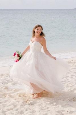 Sweetheart Sleeveless Applique A Line Boho Beach Wedding Dresses   Floor Length Bridal Gown_1