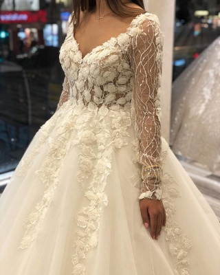 Luxurious Sweetheart V Back Long Sleeve Applique Floral Ball Gown Puffy Wedding Dresses_3