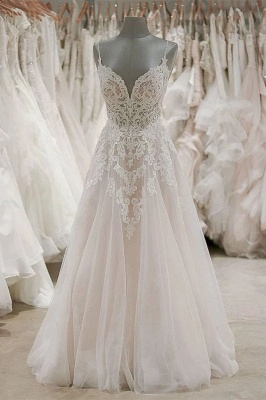 V Neck Spaghetti Strap Lace Wedding Dresses | A Line Wedding Gown_1