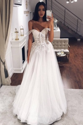 Sexy Off The Shoulder Applique Beaded Tulle Floor Length A Line Wedding Dresses_1