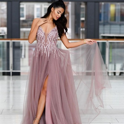 Pink Spaghetti Strap Plunging V Neck Criss-corss Back Crystal Front Slit Tulle A Line Prom Dresses_2