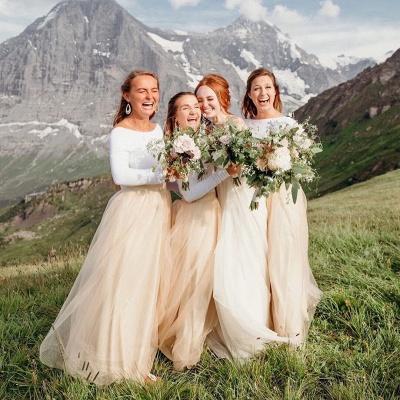 Long Sleeve Jewel Floor Length Bridesmaid Dresses_2