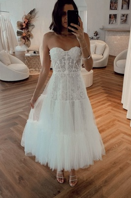 Sexy Sweetheart Backless Applique Tea Length  Pleated Tulle A Line Wedding Dresses_1