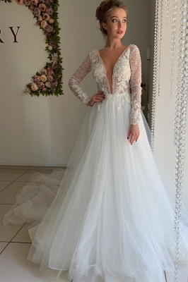 Elegant Long Sleeve Plunging V Neck Applique Flowing Tulle A Line Wedding Dresses_1