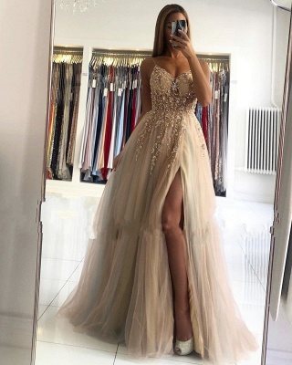 Spaghetti Strap Sweetheart Backless Crystal Floral Front Slit Tulle A Line Prom Dresses_3