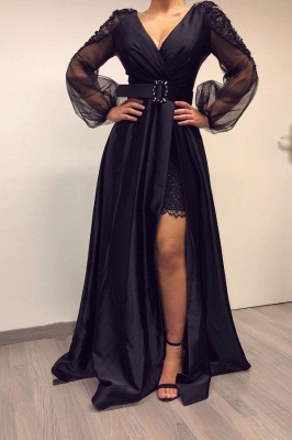 Sexy Deep V Neck Beackless Long  Sleeve Lace Side Slit  A Line Prom Dresses With Sash_1