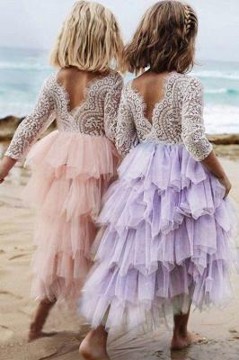 Cute Long Sleeves Jewel Tea Length Lace Tulle Flower Girl Dresses_7