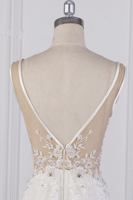 Graceful Sleeveless V Neck Tulle Beading Wedding Dresses With  Lace Appliques_7