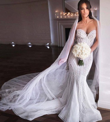 Sweetheart Strapless Beads Mermaid Wedding Dresses_3
