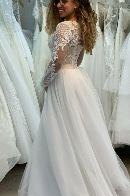 Elegant Jewel Long Sleeve Full Back Lace Pleated A Line Wedding Dresses_3