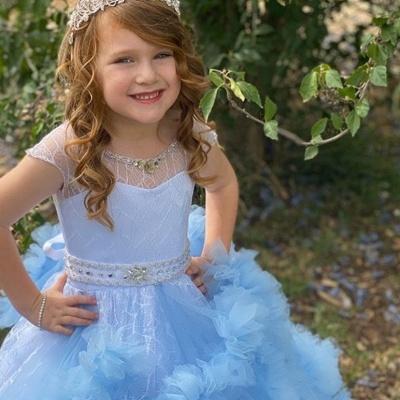 Cap Sleeve Jewel Ruffles Beaded Sash Ball Gown Flower Girl Dresses | Sky Blue Pageant  Dresses For Little Girl_3