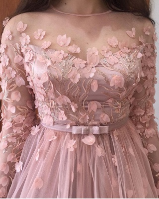 Pink Jewel Long Sleeve Floral  Sash Floor Length Pleates A Line Prom Dresses_5