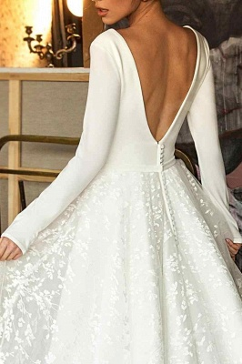 Elegant Long Sleeve V Neck A Line Wedding Dresses | Lace Wedding Gown_4