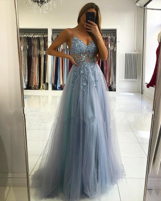 Spaghetti Strap Sweetheart Backless Crystal Floral Front Slit Tulle A Line Prom Dresses_2