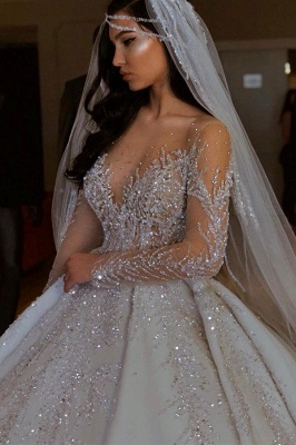 Luxury Jewel Long Sleeve Crystal Beaded Pleated Ball Gown Wedding Dresses_2