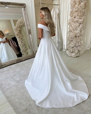 Off The Shoulder Sweetheart Backless A Line Stain Court Train Wedding Dresses_3