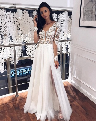 Jewel Long Sleeve Sheer Bodice Applique Lace Floor Length PleatedTulle A Line Wedding Dresses_2