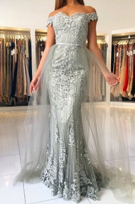 Elegant Sweetheart Off The Shoulder Backless  Applique Sash Floor Length Mermaid Prom Dresses_1