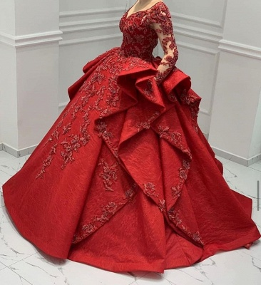 Stunning Red Jewel Long Sleeve Nude Sheer Back Embrodeiry Ruffles Ball Gown Prom Dresses_6
