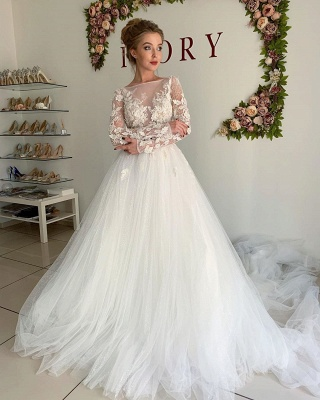 Elegant Long Sleeve Applique Beaded Tulle A Line Wedding Dresses_3