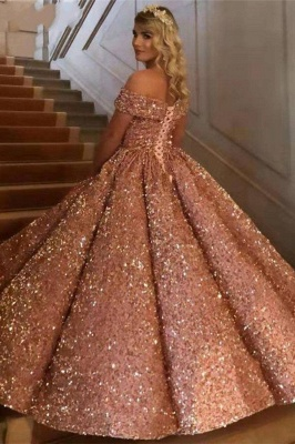 Sparkly Sweetheart Off the Shoulder Ball Gown Prom Dress | Dubai Luxury Bridal Gown_8