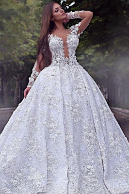 Long Sleeve Jewel Lace Crystal Wedding Dresses   A Line Backless Wedding Gown_1